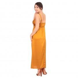 Χρυσό Σατέν Maxi Φόρεμα