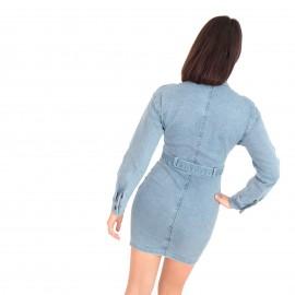 Τζιν Mini Φόρεμα με Κουμπιά και Ζωνάκι
