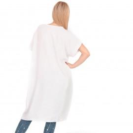 Λευκή Κοντομάνικη Ασύμμετρη Μπλούζα