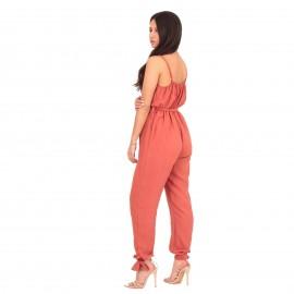 Πορτοκαλί Λινή Ολόσωμη Φόρμα Κρουαζέ