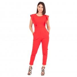 Κόκκινη Ολόσωμη Φόρμα με Βολάν στα Μανίκια