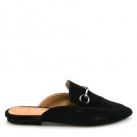 Μαύρα  Καστόρινα Mules με Διακοσμητική Αλυσίδα