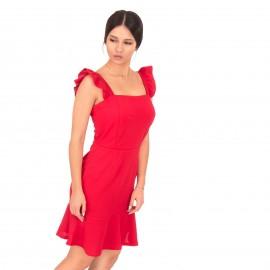 Κόκκινο Mini Φόρεμα με  Βολάν