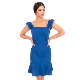 Μπλε Ρουά Mini Φόρεμα με  Βολάν