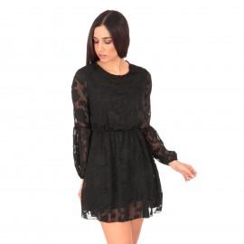 Μαύρο Mini Φόρεμα με Δαντέλα