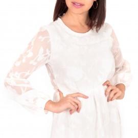 Λευκό Mini Φόρεμα με Δαντέλα