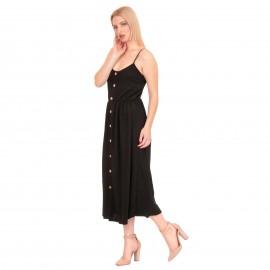 Μαύρο Midi Φόρεμα με Κουμπιά