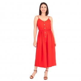 Κόκκινο Midi Φόρεμα με Κουμπιά