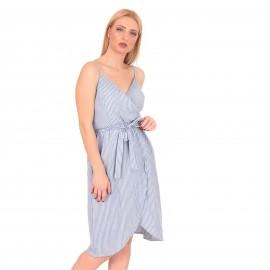 Μπλε Ριγέ Midi Φόρεμα