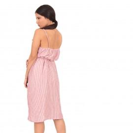 Κόκκινο Ριγέ Midi Φόρεμα