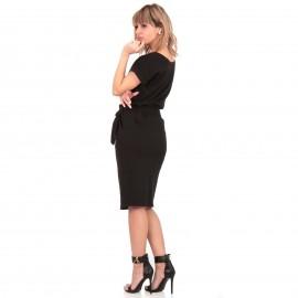 Μαύρο Midi Φόρεμα με Ζωνάκι