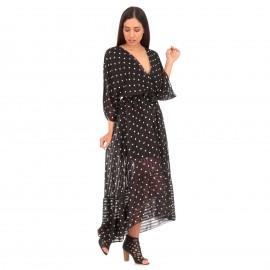 Μαύρο Πουά Maxi Κρουαζέ Φόρεμα