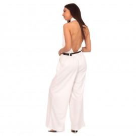 Λευκή Ολόσωμη Φόρμα Χιαστί με Ανοιχτή Πλάτη