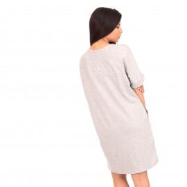 Γκρι Κοντομάνικο Mini Φόρεμα