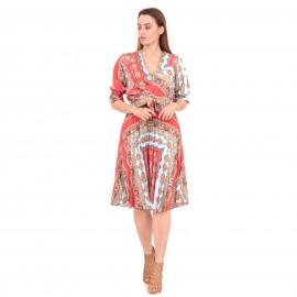 Κόκκινο Midi Φόρεμα με Boho Σχέδια