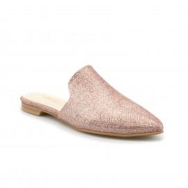 Ροζ Μυτερά Mules με Glitter