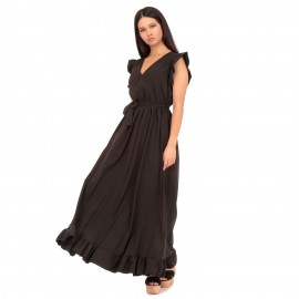 Μαύρο Maxi Φόρεμα με Βολάν στο Μανίκι