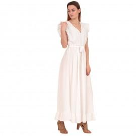 Λευκό Maxi Φόρεμα με Βολάν στο Μανίκι
