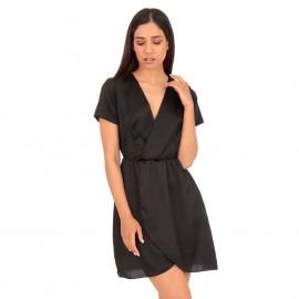 Μαύρο Σατέν Mini Φόρεμα Κρουαζέ