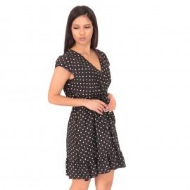 Μαύρο Πουά Mini Φόρεμα με  Βολάν και Ζωνάκι