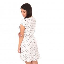 Λευκό Πουά Mini Φόρεμα με  Βολάν και Ζωνάκι