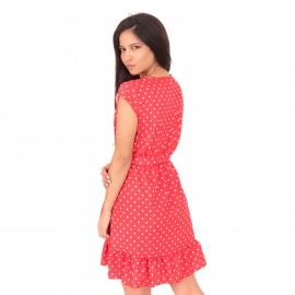 Κόκκινο Πουά Mini Φόρεμα με  Βολάν και Ζωνάκι
