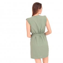 Πράσινο Mini Φόρεμα με Κουμπιά