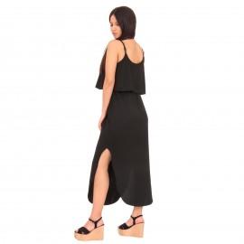 Μαύρο Midi Φόρεμα με Ζωνάκι και Άνοιγμα στο Πλάι