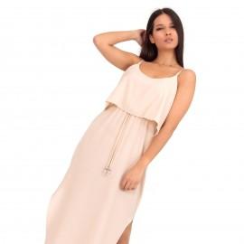 Μπεζ Midi Φόρεμα με Ζωνάκι και Άνοιγμα στο Πλάι