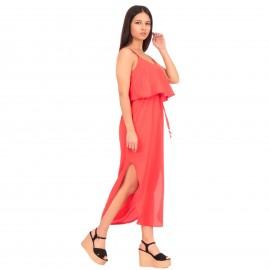 Κοραλί Midi Φόρεμα με Ζωνάκι και Άνοιγμα στο Πλάι