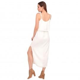 Λευκό Midi Φόρεμα με Ζωνάκι και Άνοιγμα στο Πλάι
