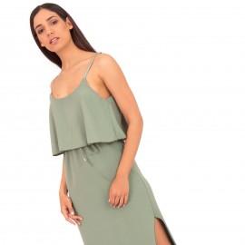 Πράσινο Midi Φόρεμα με Ζωνάκι και Άνοιγμα στο Πλάι