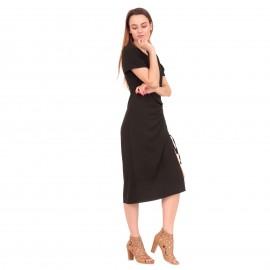 Μαύρο Κοντομάνικο Midi Φόρεμα με Άνοιγμα στο Πλάι