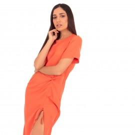 Πορτοκαλί Κοντομάνικο Midi Φόρεμα με Άνοιγμα στο Πλάι