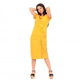 Κίτρινο Κοντομάνικο Midi Φόρεμα με Άνοιγμα στο Πλάι