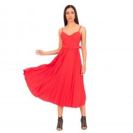 Κόκκινο Αμάνικο Πλισέ Maxi Φόρεμα