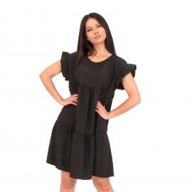 Μαύρο Mini Φόρεμα με Βολάν στα Μανίκια
