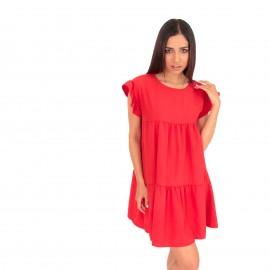 Κόκκινο Mini Φόρεμα με Βολάν στα Μανίκια