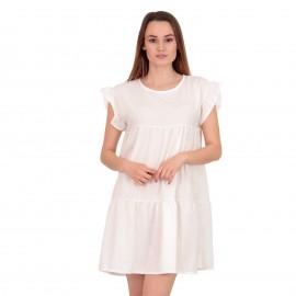 Λευκό Mini Φόρεμα με Βολάν στα Μανίκια