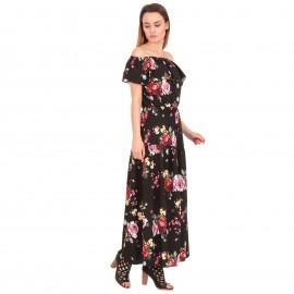 Μαύρο Φλοράλ Strapless Maxi Φόρεμα