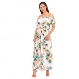 Λευκό Φλοράλ Strapless Maxi Φόρεμα