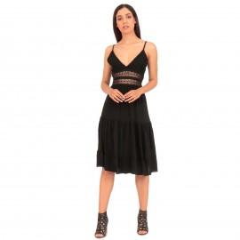 Μαύρο Αμάνικο Midi Φόρεμα με Δαντέλα και Βολάν