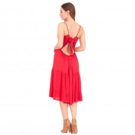 Κόκκινο Αμάνικο Midi Φόρεμα με Δαντέλα και Βολάν