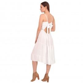 Λευκό Αμάνικο Midi Φόρεμα με Δαντέλα και Βολάν