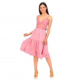Ρόζ Αμάνικο Midi Φόρεμα με Δαντέλα και Βολάν