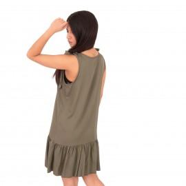Χακί Mini Φόρεμα με Βολάν