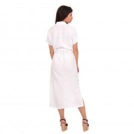 Λευκό Λινό Midi Φόρεμα με Κουμπιά
