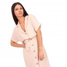 Μπεζ Λινό Midi Φόρεμα με Κουμπιά