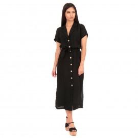 Μαύρο Λινό Midi Φόρεμα με Κουμπιά