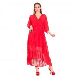 Κόκκινο Maxi Κρουαζέ Φόρεμα